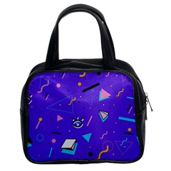 Vintage Unique Graphics Memphis Style Geometric Style Pattern Grapic Triangle Big Eye Purple Blue Classic Handbags (2 Sides) by Mariart