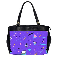 Vintage Unique Graphics Memphis Style Geometric Style Pattern Grapic Triangle Big Eye Purple Blue Office Handbags (2 Sides)  by Mariart