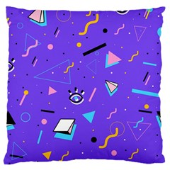 Vintage Unique Graphics Memphis Style Geometric Style Pattern Grapic Triangle Big Eye Purple Blue Standard Flano Cushion Case (two Sides) by Mariart