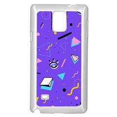 Vintage Unique Graphics Memphis Style Geometric Style Pattern Grapic Triangle Big Eye Purple Blue Samsung Galaxy Note 4 Case (white) by Mariart