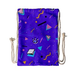 Vintage Unique Graphics Memphis Style Geometric Style Pattern Grapic Triangle Big Eye Purple Blue Drawstring Bag (small) by Mariart