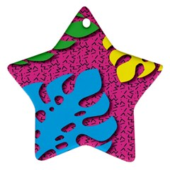 Vintage Unique Graphics Memphis Style Geometric Leaf Green Blue Yellow Pink Ornament (star)