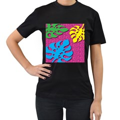 Vintage Unique Graphics Memphis Style Geometric Leaf Green Blue Yellow Pink Women s T Shirt (black) (two Sided)
