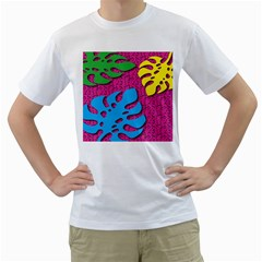 Vintage Unique Graphics Memphis Style Geometric Leaf Green Blue Yellow Pink Men s T Shirt (white)  by Mariart