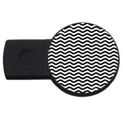 Waves Stripes Triangles Wave Chevron Black Usb Flash Drive Round (2 Gb) by Mariart