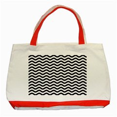 Waves Stripes Triangles Wave Chevron Black Classic Tote Bag (red) by Mariart