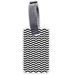 Waves Stripes Triangles Wave Chevron Black Luggage Tags (two Sides) by Mariart