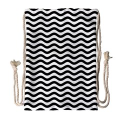 Waves Stripes Triangles Wave Chevron Black Drawstring Bag (large) by Mariart