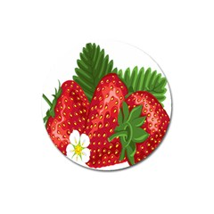 Strawberry Red Seed Leaf Green Magnet 3  (round) by Mariart