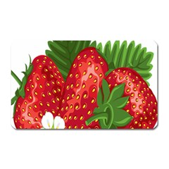 Strawberry Red Seed Leaf Green Magnet (rectangular) by Mariart