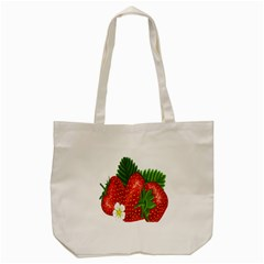 Strawberry Red Seed Leaf Green Tote Bag (cream) by Mariart