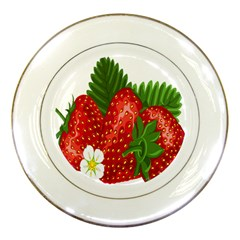 Strawberry Red Seed Leaf Green Porcelain Plates