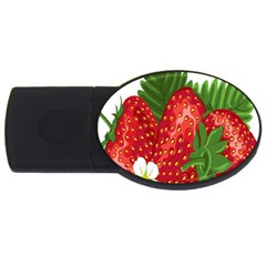 Strawberry Red Seed Leaf Green Usb Flash Drive Oval (4 Gb) by Mariart