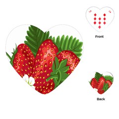 Strawberry Red Seed Leaf Green Playing Cards (heart)  by Mariart