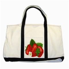 Strawberry Red Seed Leaf Green Two Tone Tote Bag by Mariart