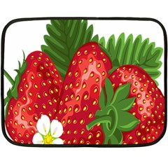 Strawberry Red Seed Leaf Green Fleece Blanket (mini) by Mariart