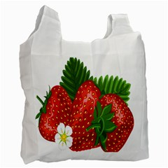 Strawberry Red Seed Leaf Green Recycle Bag (one Side) by Mariart