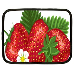 Strawberry Red Seed Leaf Green Netbook Case (xxl)  by Mariart