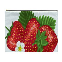 Strawberry Red Seed Leaf Green Cosmetic Bag (xl) by Mariart
