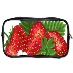Strawberry Red Seed Leaf Green Toiletries Bags by Mariart