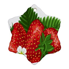 Strawberry Red Seed Leaf Green Ornament (snowflake) by Mariart