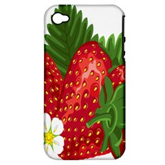 Strawberry Red Seed Leaf Green Apple Iphone 4/4s Hardshell Case (pc+silicone) by Mariart