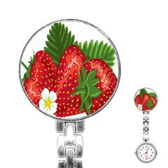 Strawberry Red Seed Leaf Green Stainless Steel Nurses Watch