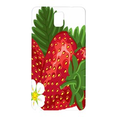 Strawberry Red Seed Leaf Green Samsung Galaxy Note 3 N9005 Hardshell Back Case by Mariart