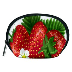 Strawberry Red Seed Leaf Green Accessory Pouches (medium)  by Mariart