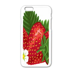Strawberry Red Seed Leaf Green Apple Iphone 6/6s White Enamel Case by Mariart