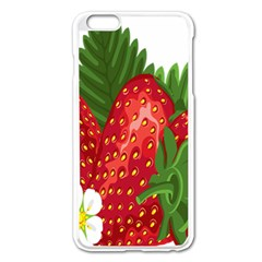 Strawberry Red Seed Leaf Green Apple Iphone 6 Plus/6s Plus Enamel White Case by Mariart