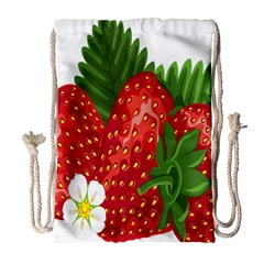 Strawberry Red Seed Leaf Green Drawstring Bag (large) by Mariart