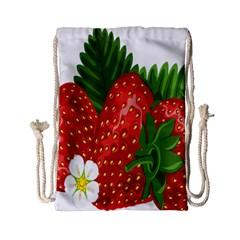Strawberry Red Seed Leaf Green Drawstring Bag (small)