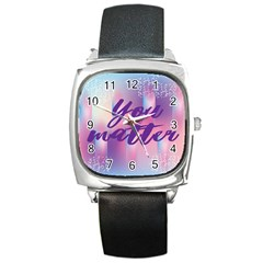 You Matter Purple Blue Triangle Vintage Waves Behance Feelings Beauty Square Metal Watch by Mariart