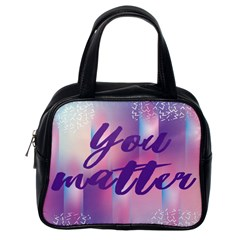 You Matter Purple Blue Triangle Vintage Waves Behance Feelings Beauty Classic Handbags (one Side) by Mariart