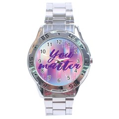 You Matter Purple Blue Triangle Vintage Waves Behance Feelings Beauty Stainless Steel Analogue Watch by Mariart