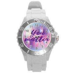 You Matter Purple Blue Triangle Vintage Waves Behance Feelings Beauty Round Plastic Sport Watch (l) by Mariart