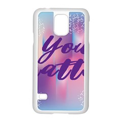 You Matter Purple Blue Triangle Vintage Waves Behance Feelings Beauty Samsung Galaxy S5 Case (white) by Mariart