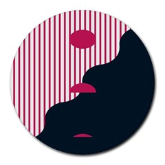 Waves Line Polka Dots Vertical Black Pink Round Mousepads