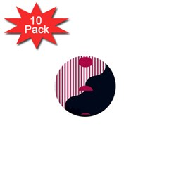 Waves Line Polka Dots Vertical Black Pink 1  Mini Buttons (10 Pack)  by Mariart