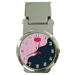 Waves Line Polka Dots Vertical Black Pink Money Clip Watches by Mariart