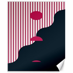 Waves Line Polka Dots Vertical Black Pink Canvas 16  X 20   by Mariart