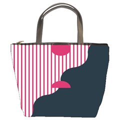 Waves Line Polka Dots Vertical Black Pink Bucket Bags by Mariart