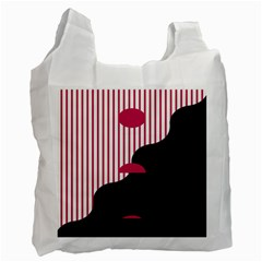Waves Line Polka Dots Vertical Black Pink Recycle Bag (one Side)