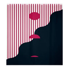 Waves Line Polka Dots Vertical Black Pink Shower Curtain 66  X 72  (large)  by Mariart