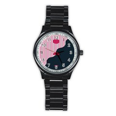 Waves Line Polka Dots Vertical Black Pink Stainless Steel Round Watch by Mariart