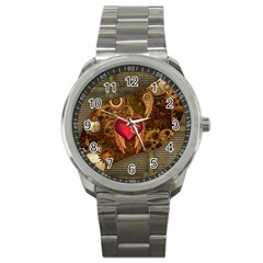 Steampunk Golden Design, Heart With Wings, Clocks And Gears Sport Metal Watch by FantasyWorld7