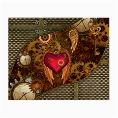 Steampunk Golden Design, Heart With Wings, Clocks And Gears Small Glasses Cloth (2 Side) by FantasyWorld7