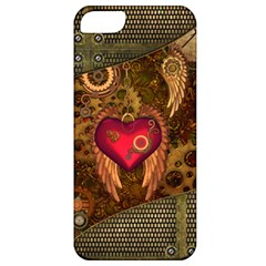 Steampunk Golden Design, Heart With Wings, Clocks And Gears Apple Iphone 5 Classic Hardshell Case by FantasyWorld7