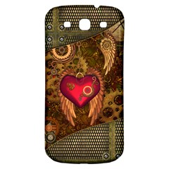 Steampunk Golden Design, Heart With Wings, Clocks And Gears Samsung Galaxy S3 S Iii Classic Hardshell Back Case by FantasyWorld7